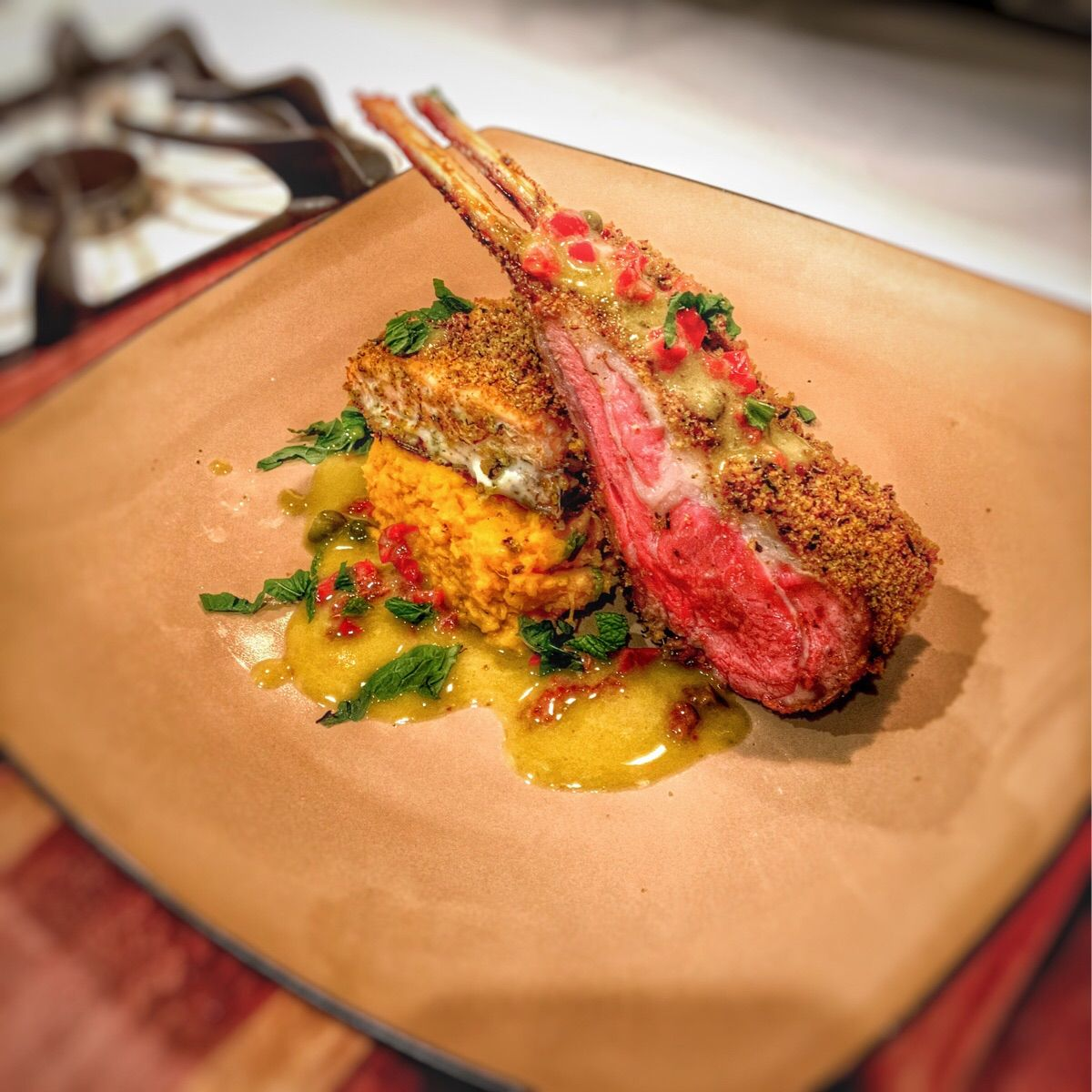 Surf And Turf Mint Crusted Lamb Racks And Salmon Over Sweet