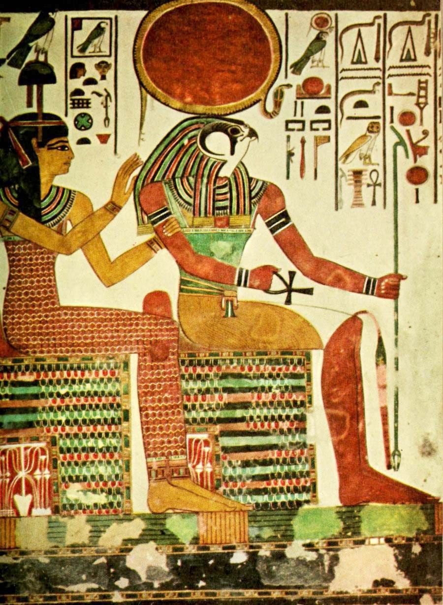 Ancient - Egyptian Wall Paintings 1956, Horus. #egypt | Old Egypt ...