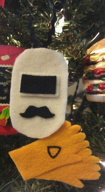 Welders helmet & gloves felt ornament....made it just for daddy ...