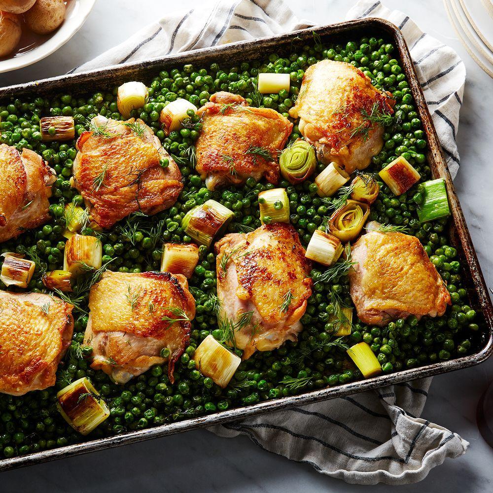 Nigella Lawson S Chicken Pea Traybake Recipe On Food52 Recipe Nigella Lawson Recipes Nigella Lawson Pan Chicken Thighs