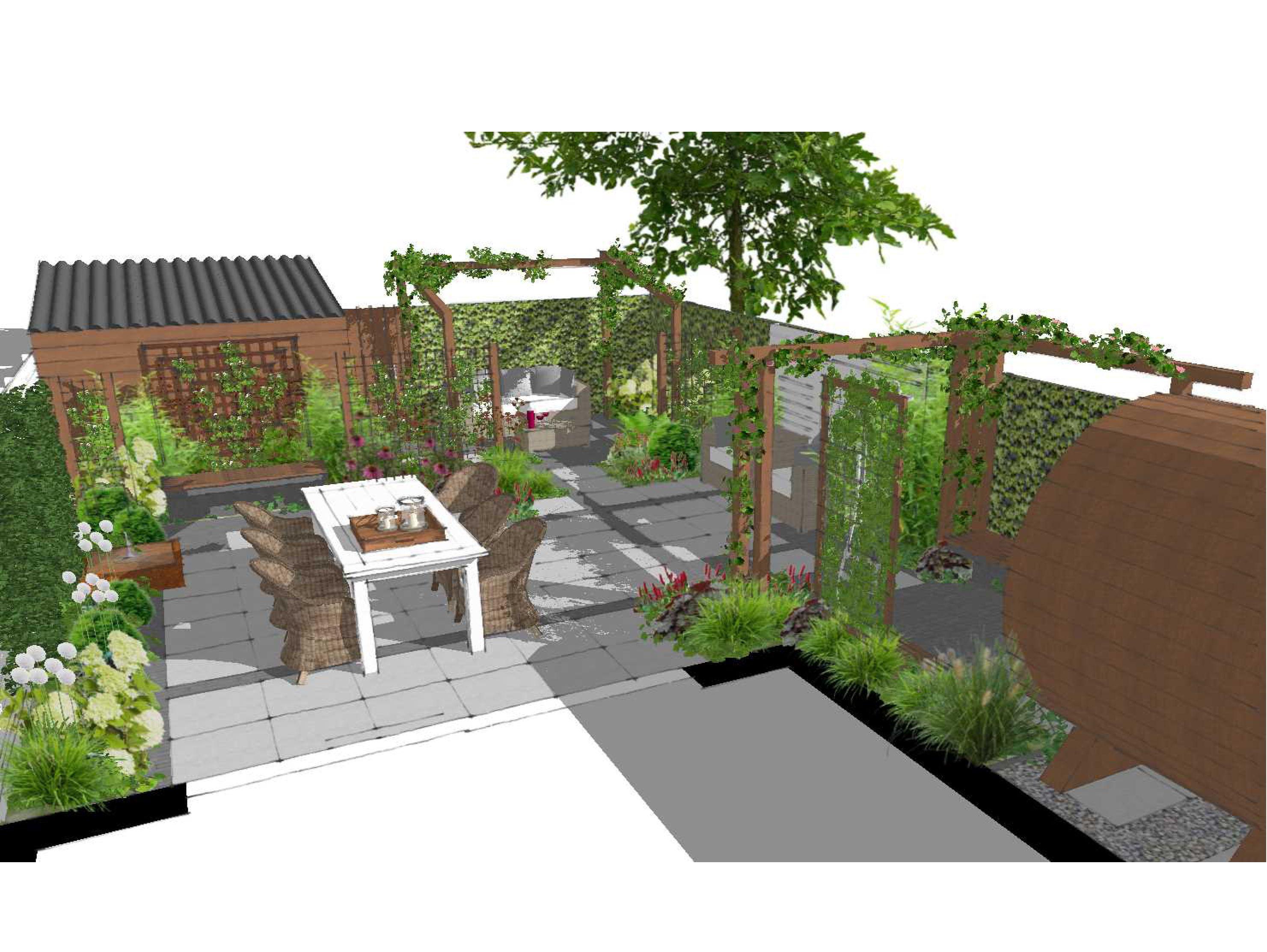 Tuinontwerp sketchup romantische tuin met barrel sauna bij nieuwbouwhuis sketch up - Tuinontwerp ...