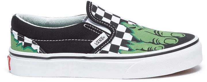 Vans x Marvel  Classic Slip-on  Hulk print kids sneakers 049f137fb