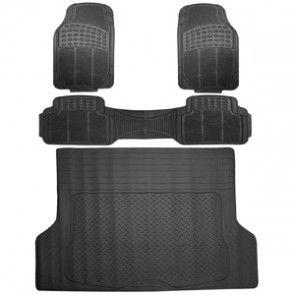Ultimate Guard Black Heavy Duty Rubber Car Floor Mat 4 Piece Set 2 Front 1 Rear 1 Trunk Trunk Liner Car Floor Mats Heavy Duty