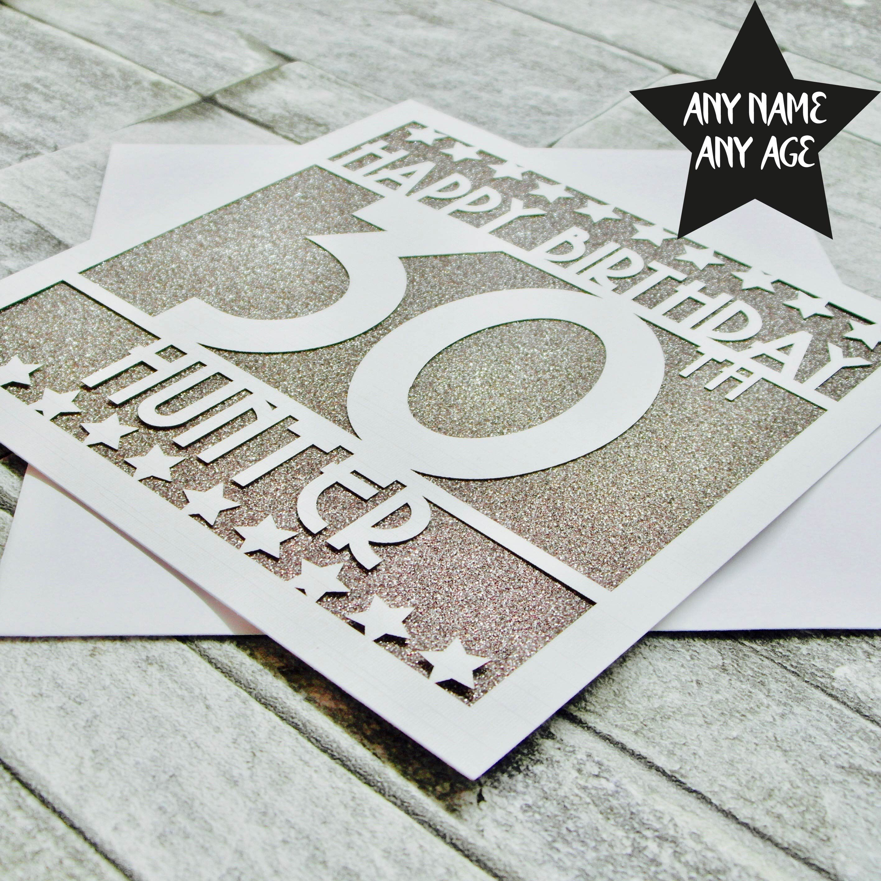 Personalised 30th Birthday Card Age 30 Thirty Sister Mum Dad Daughter Laser Cut Handmade By TheCardTailorUK
