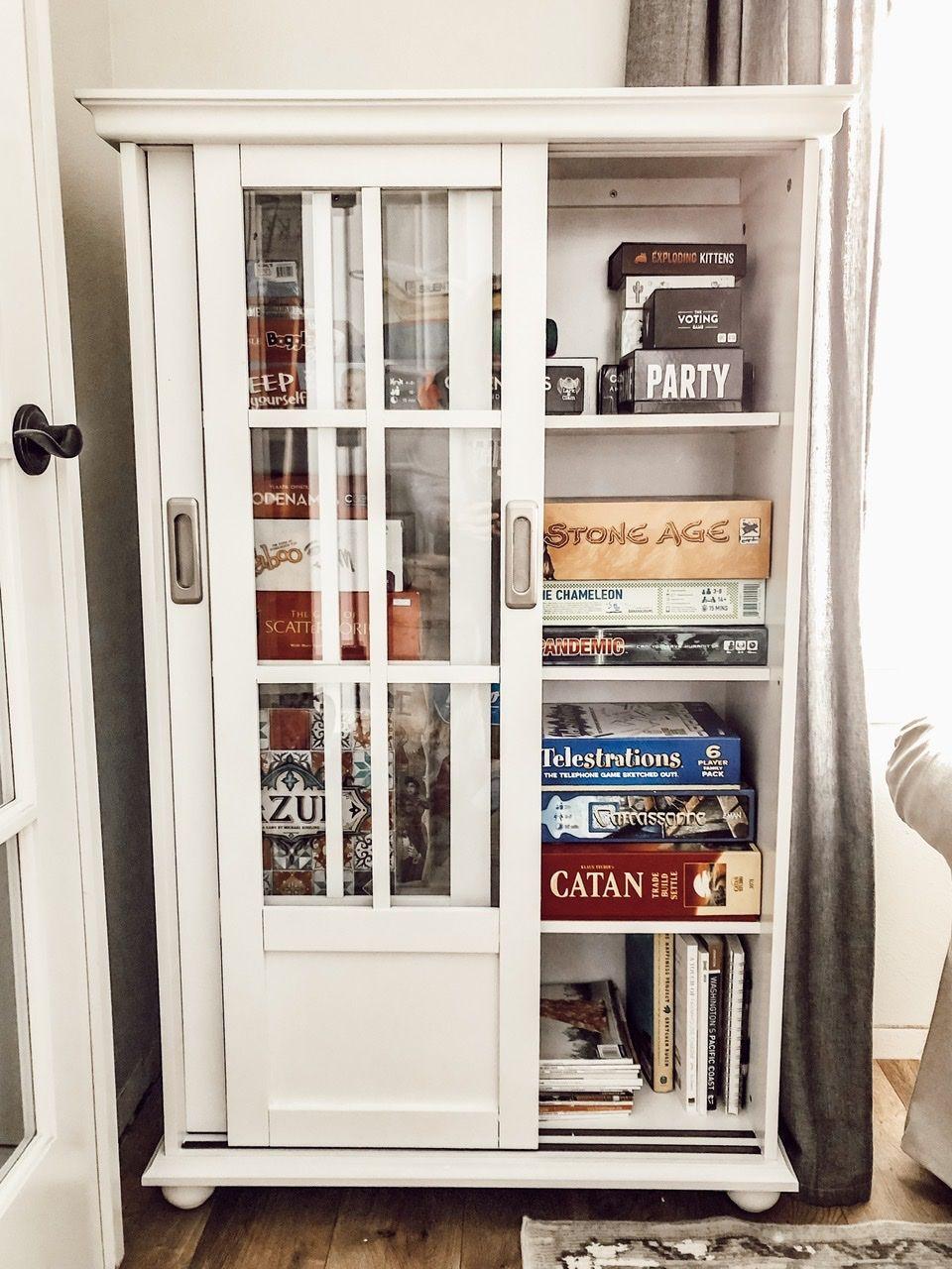 Organizing Board Games Using Small Storage Cabinets With Wayfair Com In 2020 Small Storage Cabinet Storage Cabinets Board Game Storage