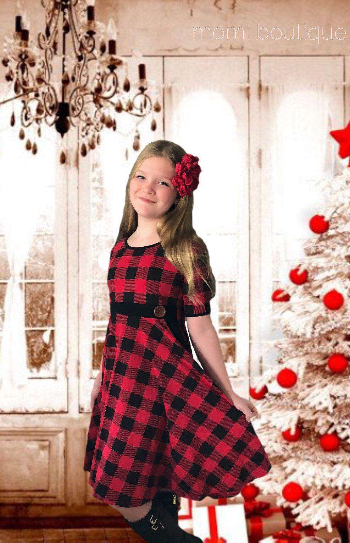Girls casual Christmas holiday dress Buffalo Plaid Dress