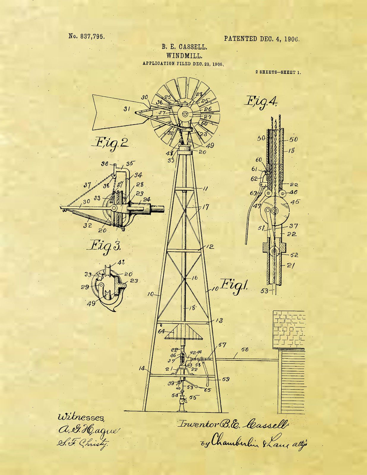 Display Art Print US PATENT for WINDMILL Vintage Cassell 1906 ...