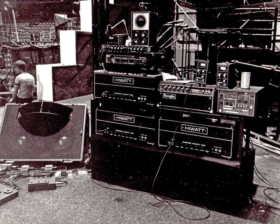 david gilmour 39 s rig being set up at earls court for the wall circa 1980 note the schaffer. Black Bedroom Furniture Sets. Home Design Ideas