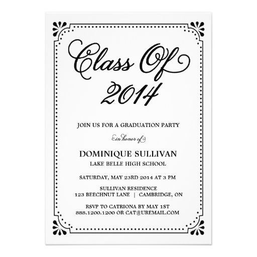 Vintage Art Deco 2014 Graduation Invitation 2018 Graduation