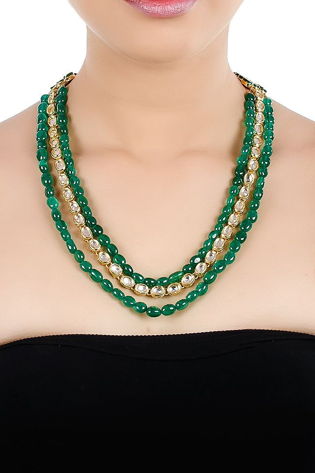 Layered Necklace With Emerald Green