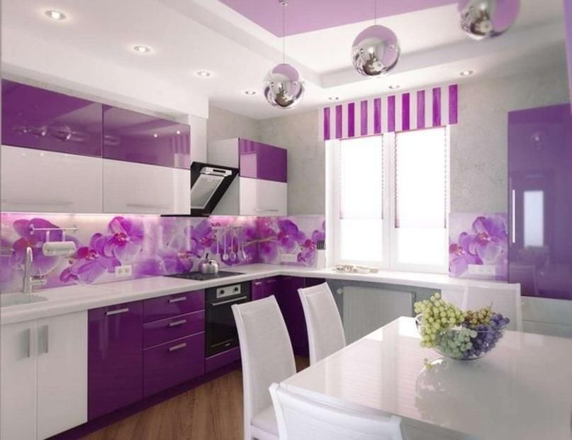 Wonderful Kitchen Style Ideas With Purple Floral Wallpaper Above Backsplash  And White Dining Table And Dining Chair Including Lighting In Ceiling And  ...
