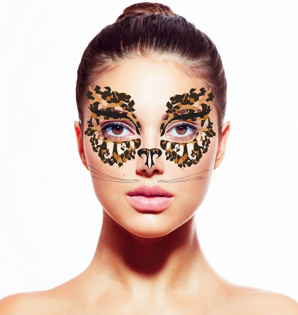 Leopard remix masquerade mask temporary tattoo