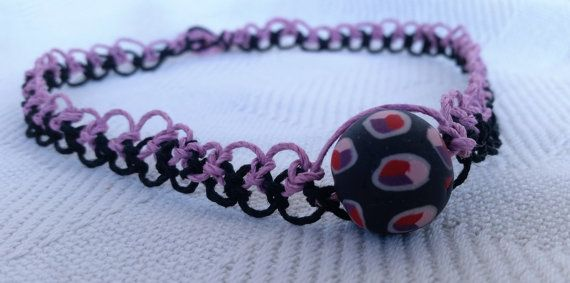 Hemp Necklace in Black & Pink with handmade clay bead, hippie jewelry, hippie choker