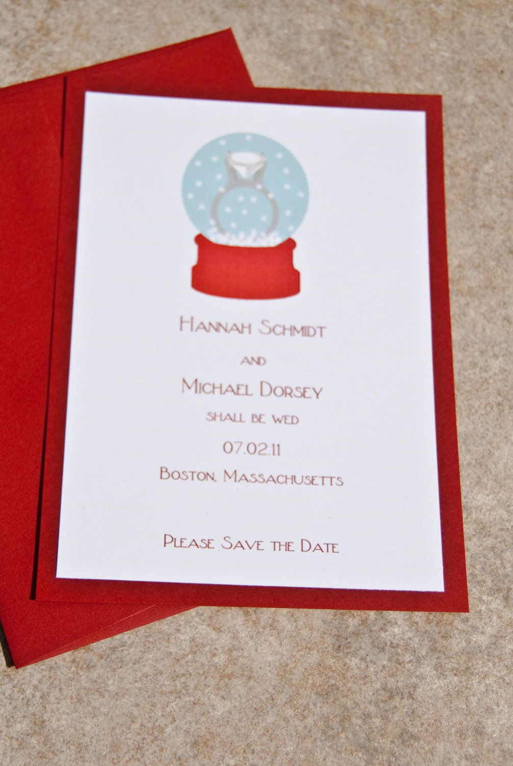Save the Date Engagement Ring Snowglobe Layered Wedding Invitation ...