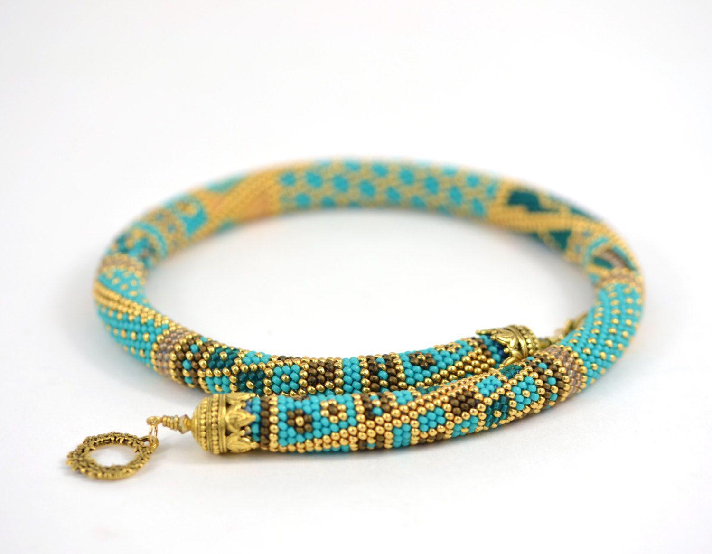 Samarqand Bead Crochet Necklace Turquoise Blue by LeeMarina