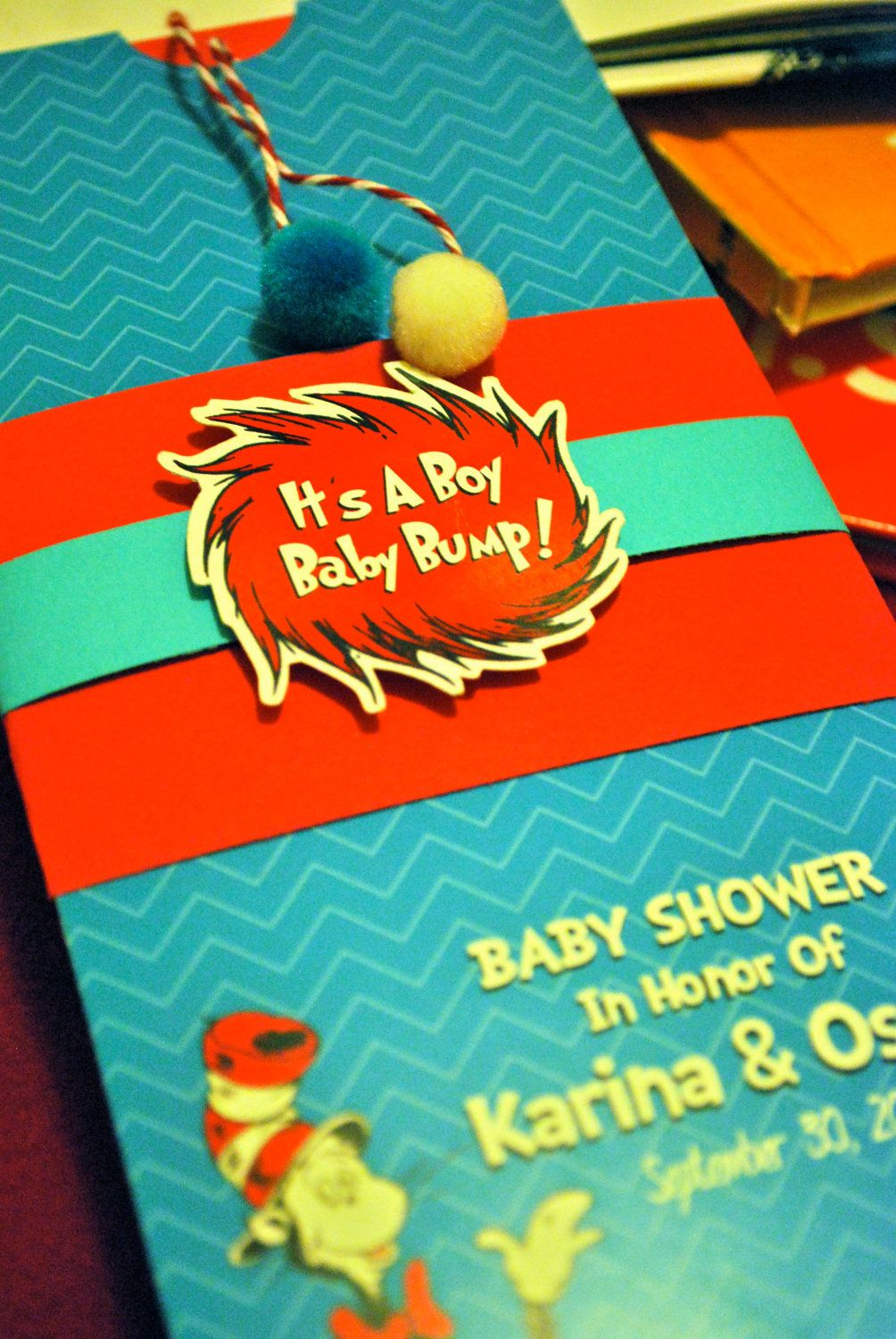 Dr Seuss Cat in the Hat Invitation. $3.65, via Etsy. | baby shower ...