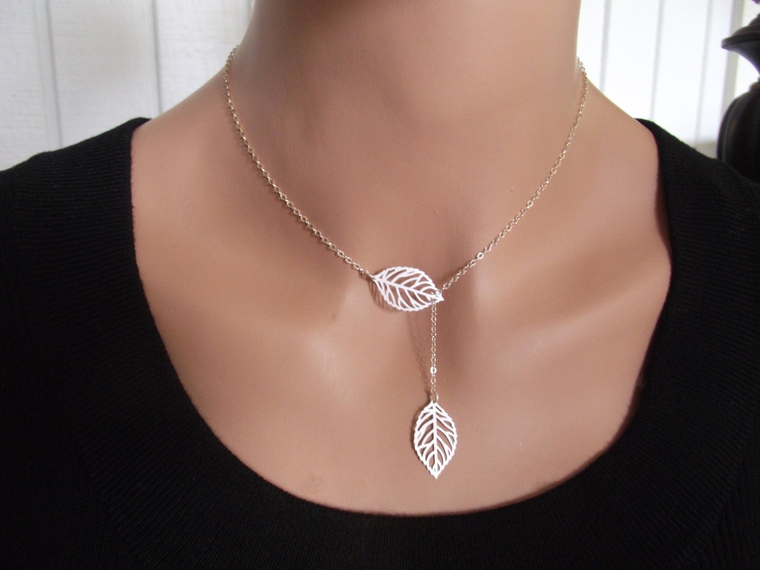 Silver leaf necklace sterling silver necklace leaf jewelry i really like the way this falls and the delicate design silver leaf necklace aloadofball Image collections