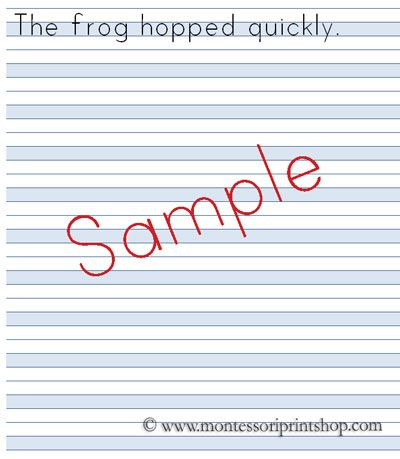 Blue Lined Paper - Printable Montessori Lined Paper    www - lined paper with picture