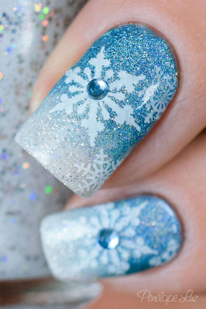 Tutorial – Unhas inspiradas na Elsa de Frozen | Christmas nails ...