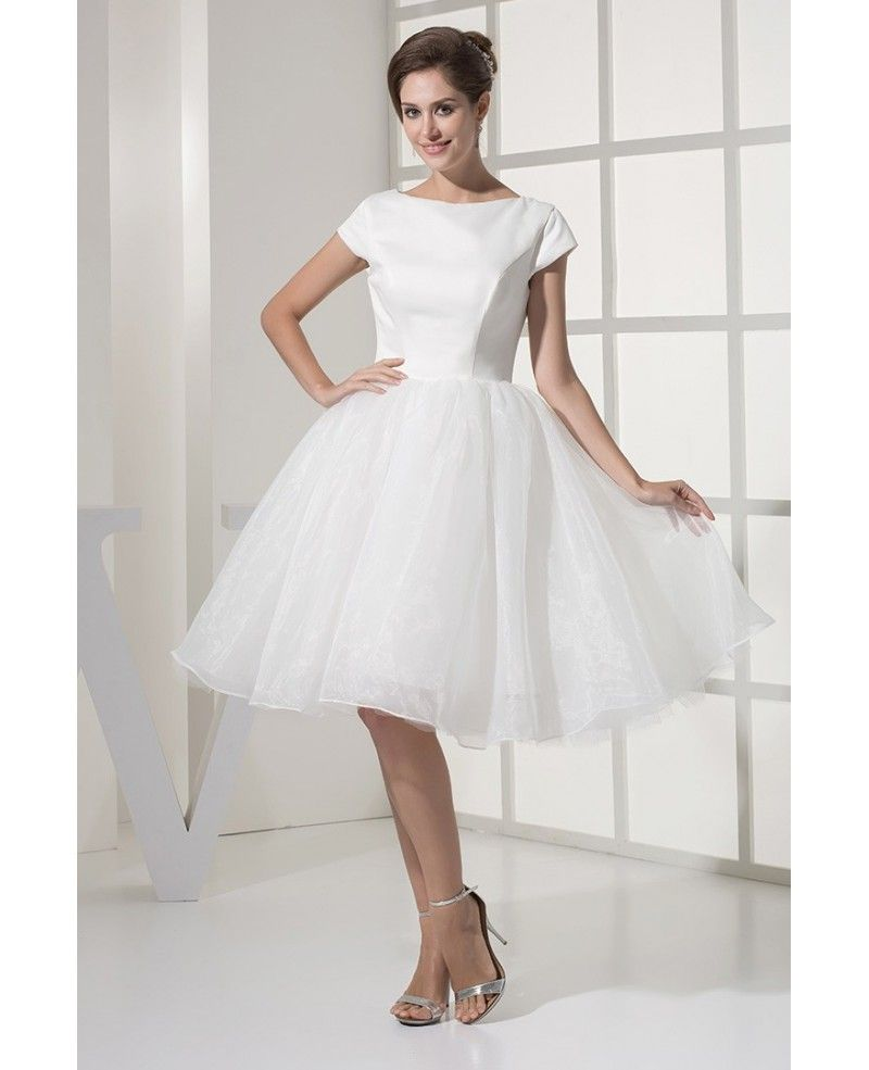 Fun short wedding dresses tulle with sleeves modest ballroom style