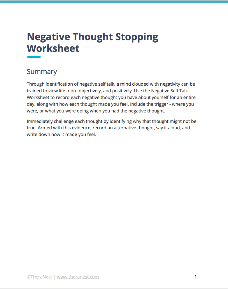 Negative Self Talk Worksheet Self Esteem Worksheets – Thought Stopping Worksheets
