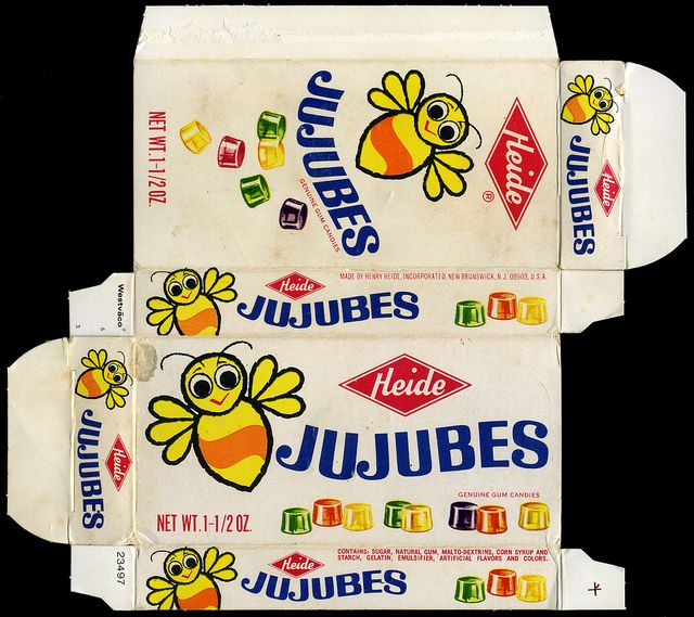 Heide - Jujubes with bee mascot - candy box - 1970's by JasonLiebig, via Flickr..