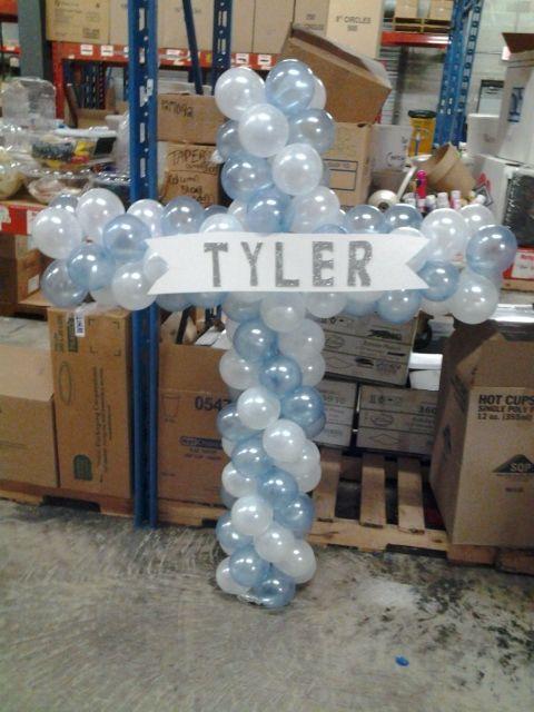 Balloon Cross Sculpture Christening Balloons First
