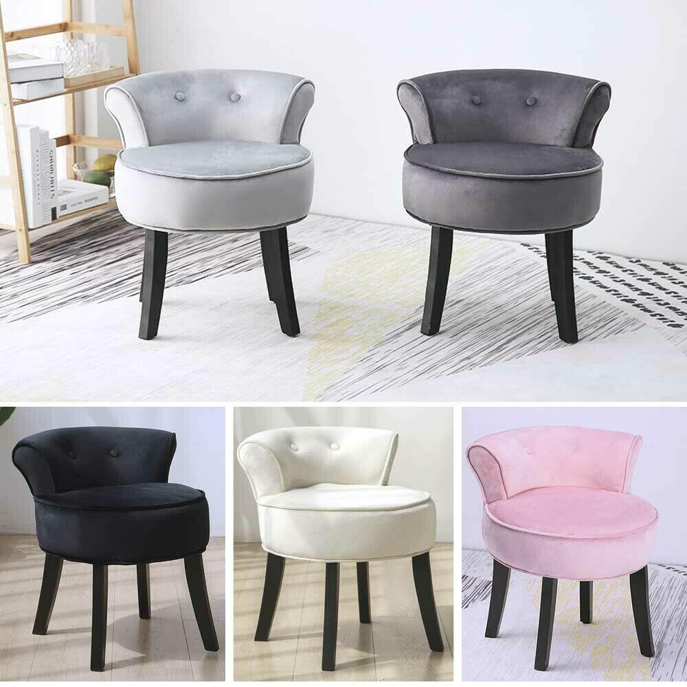 Velvet Vanity Stool Dressing Chair with Black Legs Bedroom Ottoman