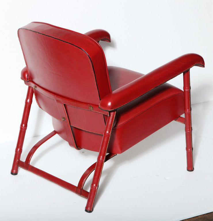 Fine Pair of Armchairs by Jacques Adnet (1901-1984) | From a unique collection of antique and modern lounge chairs at http://www.1stdibs.com/furniture/seating/lounge-chairs/