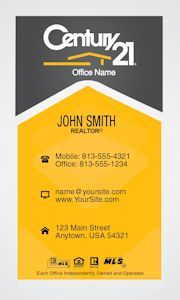 Grey and gold vertical century 21 business card idea century 21 century 21 business cards online design and printing services for century 21 real estate agents wajeb Image collections