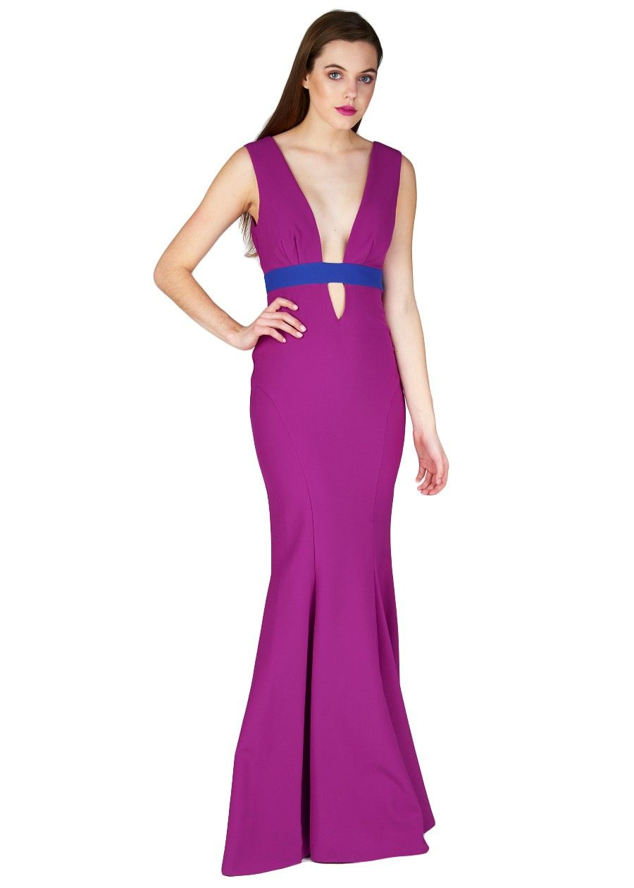 Viola Crepe Low Neck W/band   Gowns and Maxi Dresses!   Pinterest