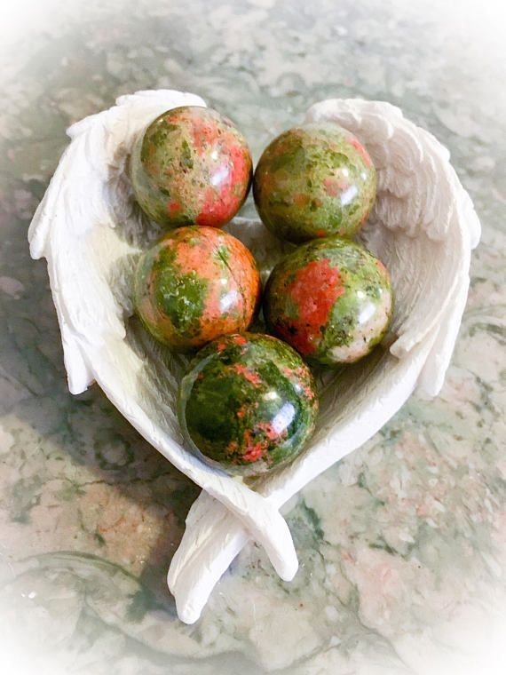 Pretty Unakite Natural Sphere 20MM with Stand and w/FREE Bag