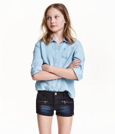 Jeansbluse aus Lyocell | Hellblau | Kinder | H&M DE (с ...