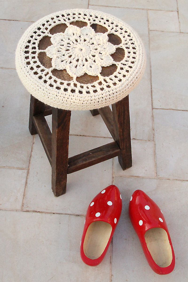 Crocheted Flower Medallion Stool Cover, The Perfect Winter Accessory ...