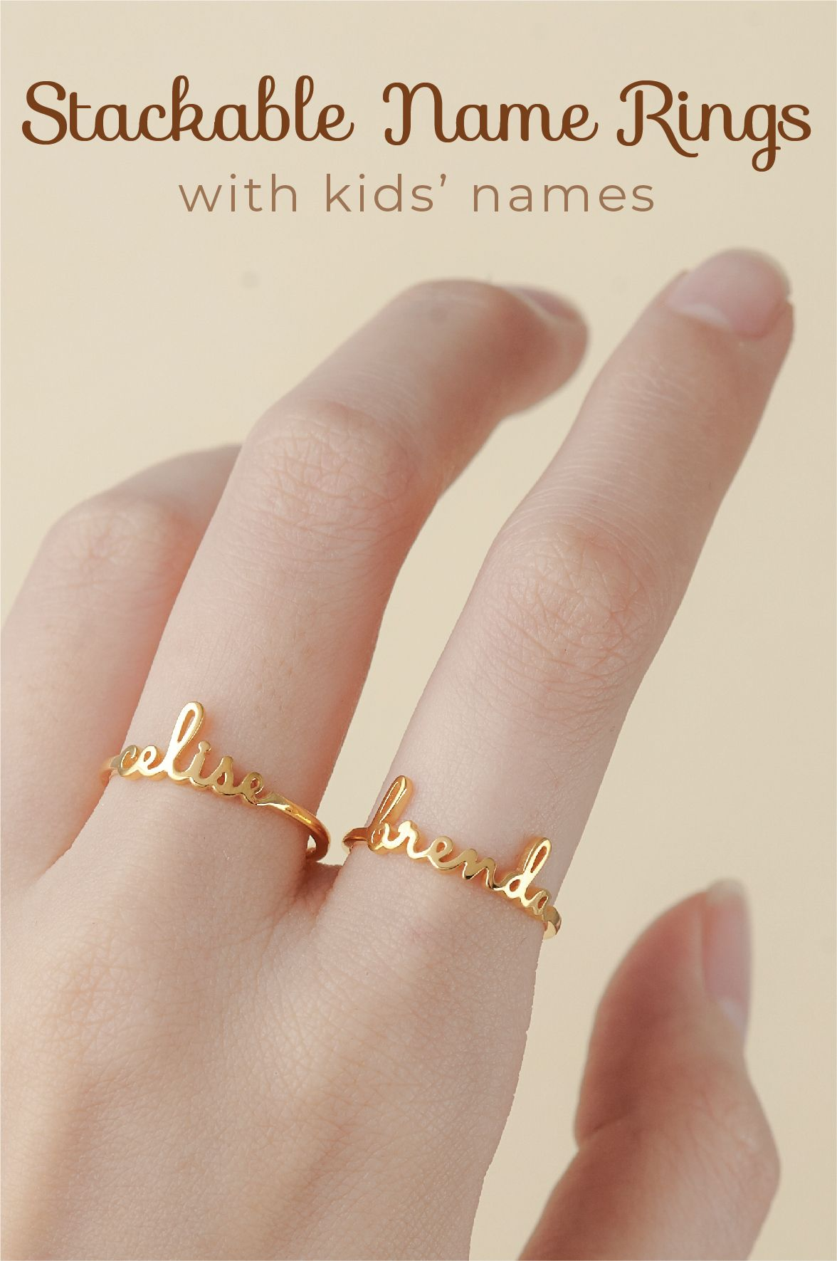 Stackable Name Rings Personalized Rings With Kids Name Name