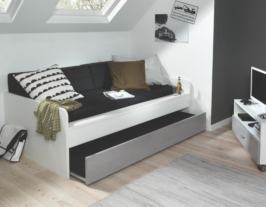 Bett Gastebett Duoliege Wellemobel Schlafzimmer Schwarz Weiss