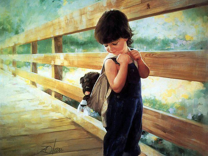 Bambini dipinti ~ Donald zolan oil painting of children almost home Художники