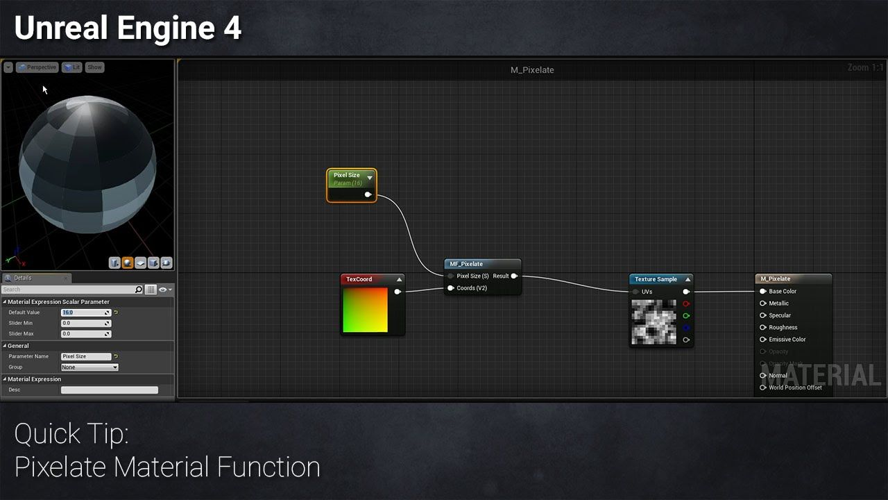 Ue4 Quick Tip Pixelate Material Function