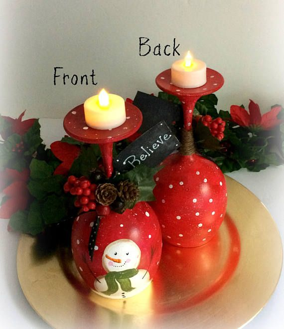 Wine Glass Candle Holder Snowman Christmas Candles Holiday