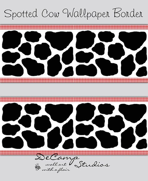Black And White Spotted Cow Wallpaper Border Wall Decals With Red Gingham  Print For Baby Boy