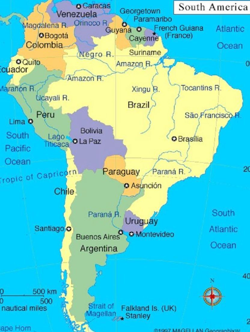Map Of South America With Capitals America Political Map Of - South america capitals map quiz