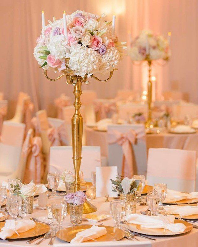 Classic Wedding Centerpiece Idea Tall Gold Candelabra With Floral