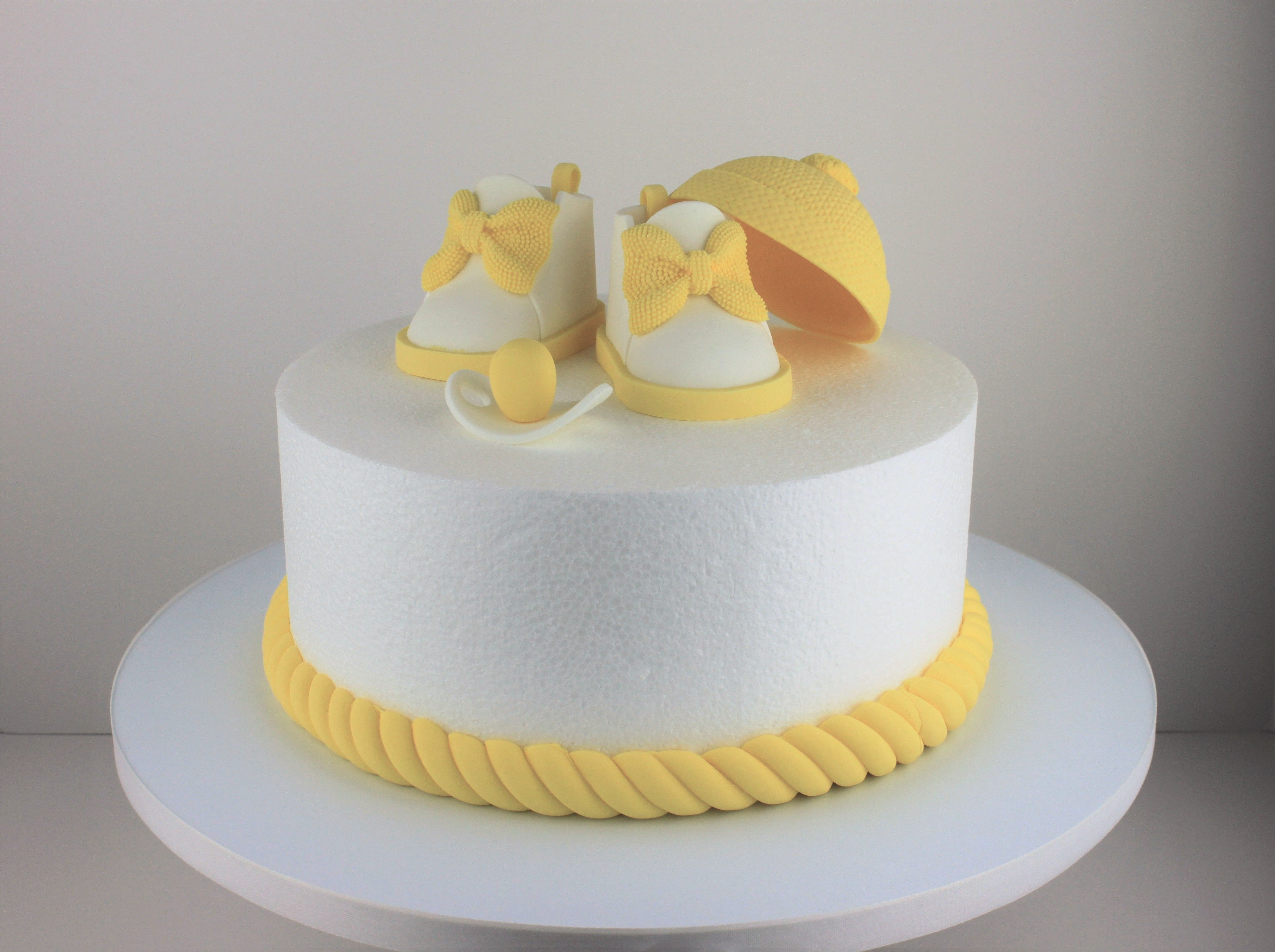 Yellow And White Baby Shower Cake Topper Fondant Baby Shoes Baby