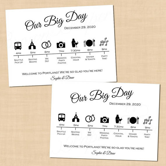 Calligraphy Wedding Itinerary, Big Day Guest Timeline Schedule Icons
