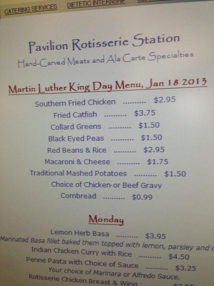 Martin luther king day menu southern fried chicken fried