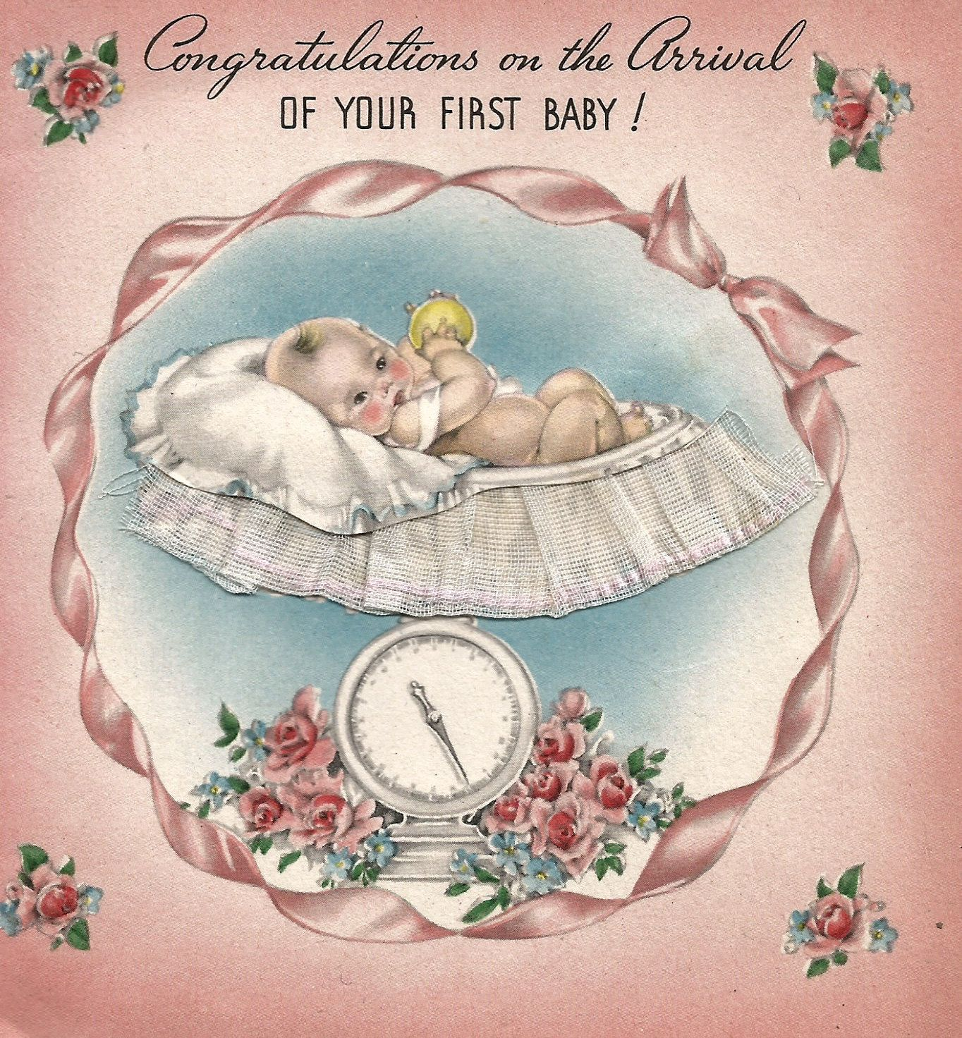 Vintage first baby congratulations greeting card boy girl scale vintage first baby congratulations greeting card boy girl scale digital download printable instant image by biggdesigns kristyandbryce Gallery