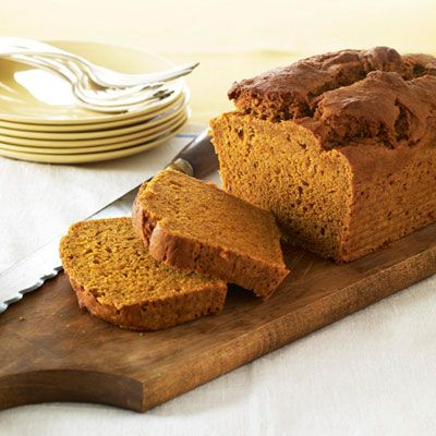 Treat family and friends to our slimmed-down quick bread. Gone are the traditional version's 3 grams of saturated fat and all the cholesterol (thanks to egg whites and a blend of low-fat yogurt and canola oil). No one will suspect you've tinkered — a slice is that good! Recipe: Healthy Makeover: Pumpkin Bread   - Delish.com