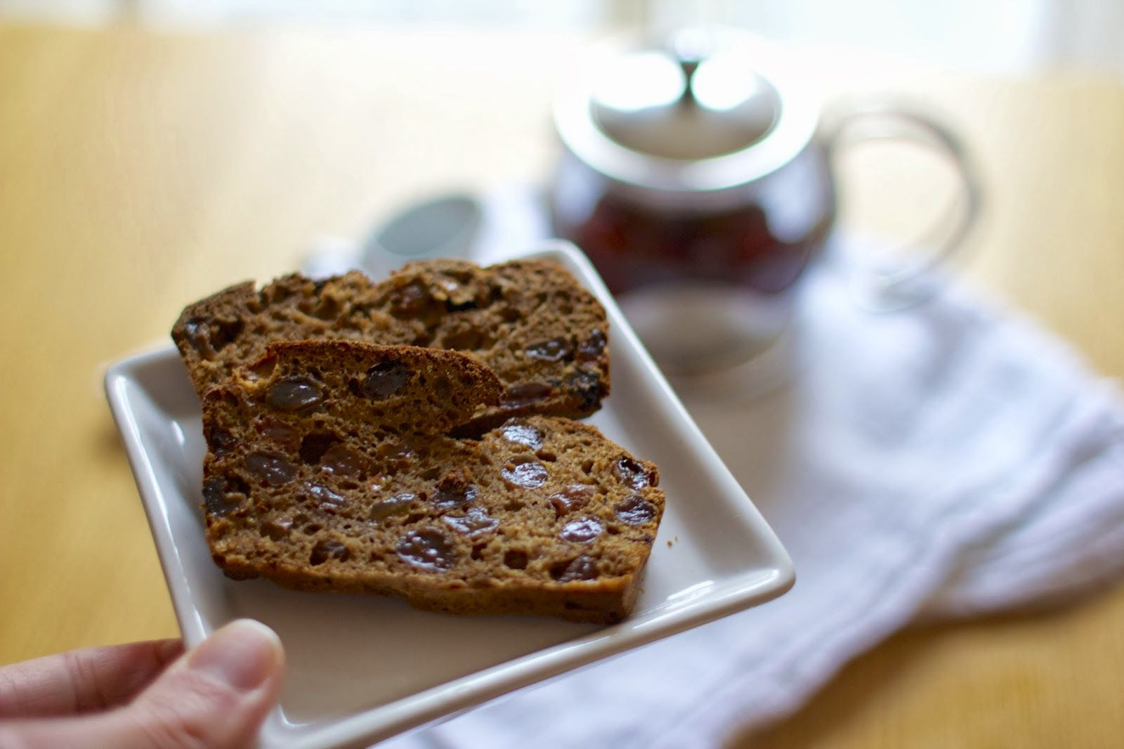 A lovely fruit and bran loaf with no dairy (also low sugar and high fibre but you'd never guess)