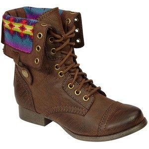 SM New York Women's Jaclyn Cuffed Blanket Combat Boot Brown ...
