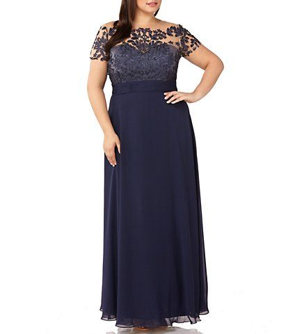 dca5732ea62 JS Collections Plus Size Illusion Beaded Bodice A-Line Chiffon Gown ...